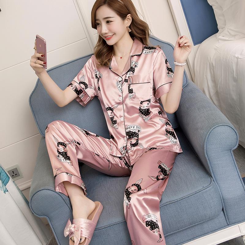 睡衣女春夏冰丝短袖薄款性感韩版开衫长裤家居服丝绸两件套装大码
