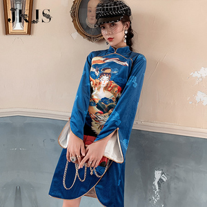 New Year's dress cheongsam autumn and winter young girl national tide Chinese style dress ethnic style women's improved version of the dress