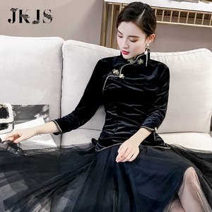 Cheongsam young improved Tang suit Hanfu girl daily autumn and winter Chinese style retro women's shirt buckle Chinese shirt