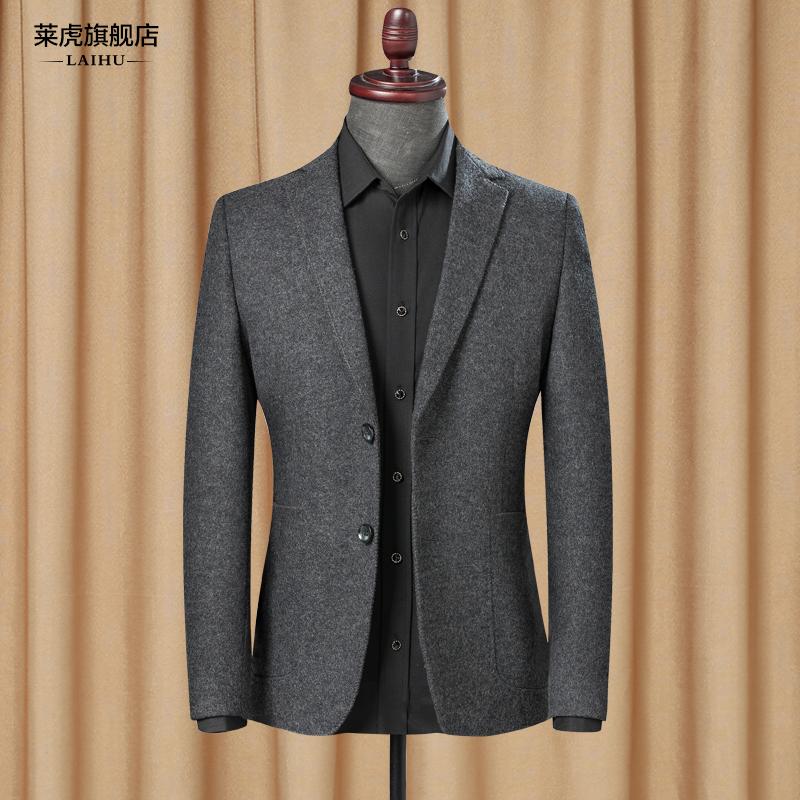 春秋季新款时尚休闲小西装男士修身韩版单件西服上衣羊毛呢子外套