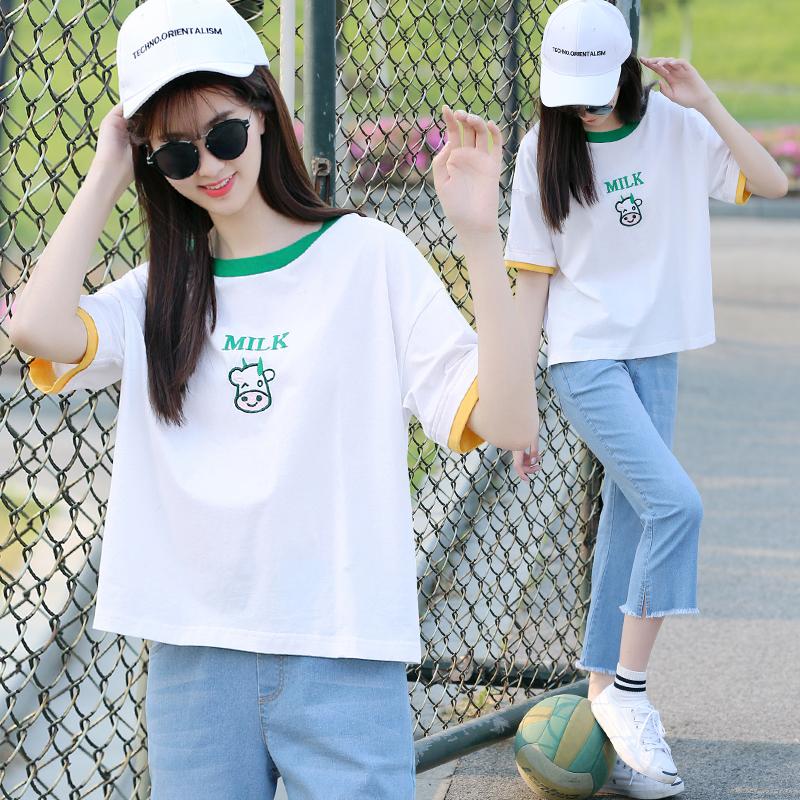 夏季套装新款少女夏装学院风初中学生韩版宽松T恤高中生短袖上衣