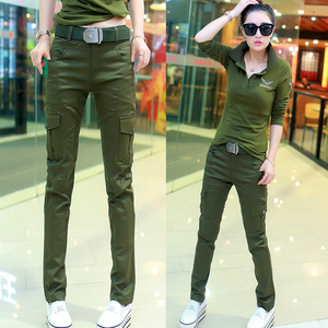 Army fan clothing outdoor casual pants female camouflage straight pants military pants multi-pocket Korean spring and summer overalls tide
