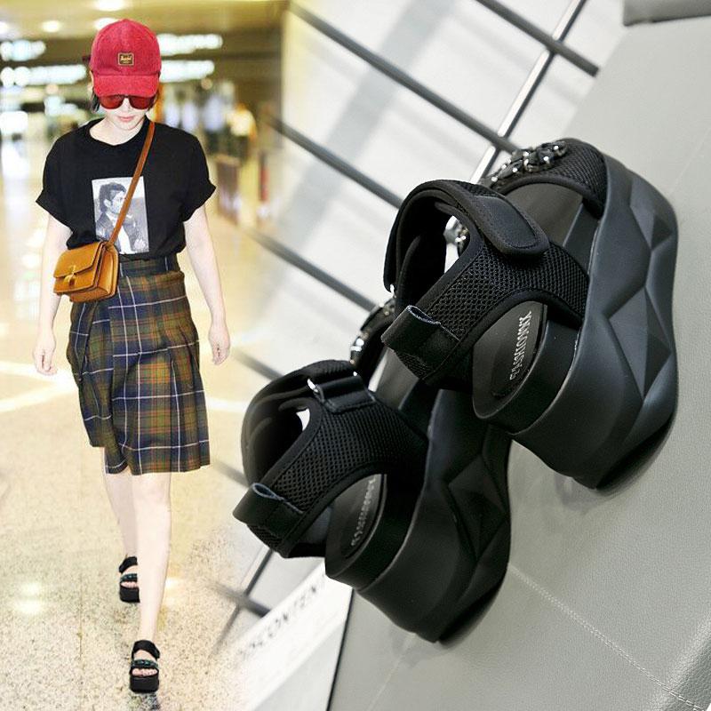松糕 凉鞋 夏季 新款 水钻 增高