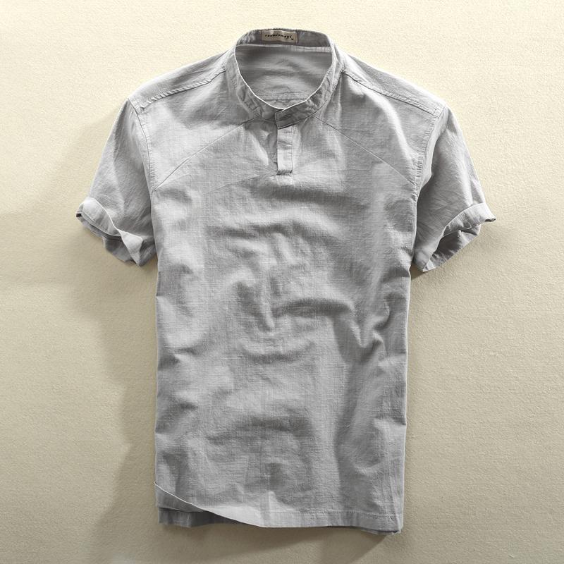 夏季立领亚麻短袖衬衫男士套头薄款透气休闲宽松棉麻衬衣半袖上衣
