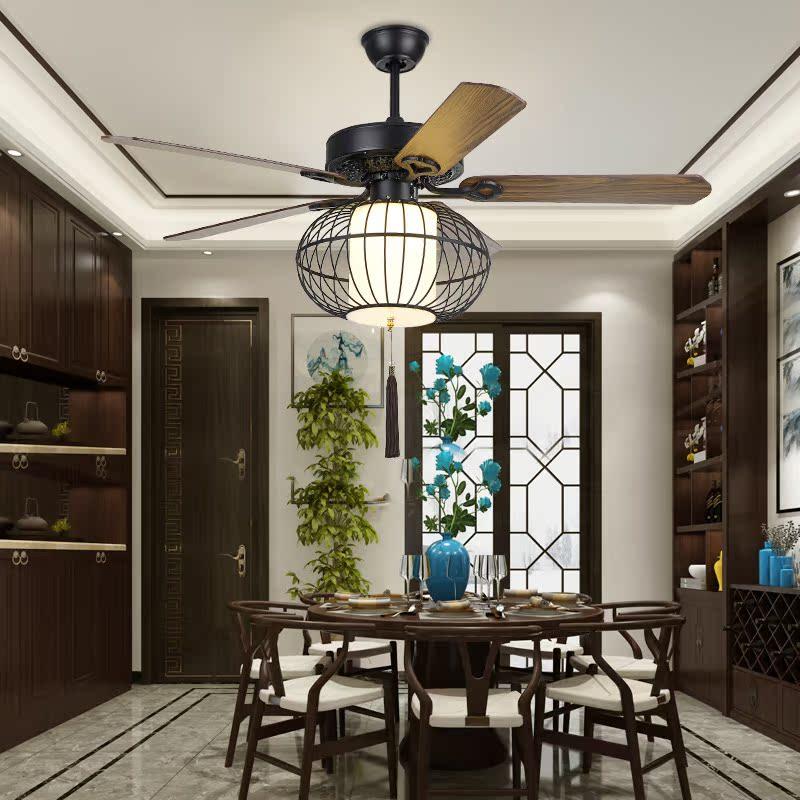 新中式风扇灯客厅餐厅卧室吊扇灯古典茶楼灯笼吊扇美式带风扇吊灯-梆宏灯饰企业店
