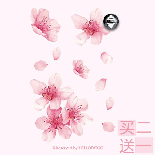 初陌原创花朵纹身贴防水女持久粉红樱花性感逼真刺青贴纸创意礼物