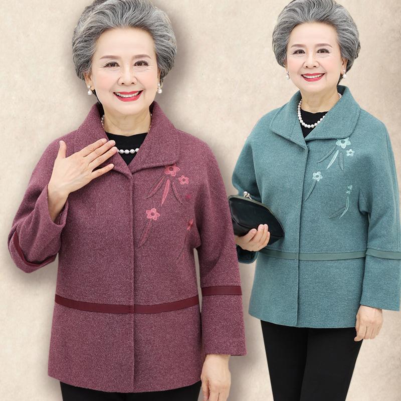 奶奶春秋毛呢外套中老年人女装秋装呢子外衣60岁70岁短款上衣服装