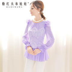 Shirt women long sleeves Pink doll spring 2015 shirt purple/white lace chiffon shirt