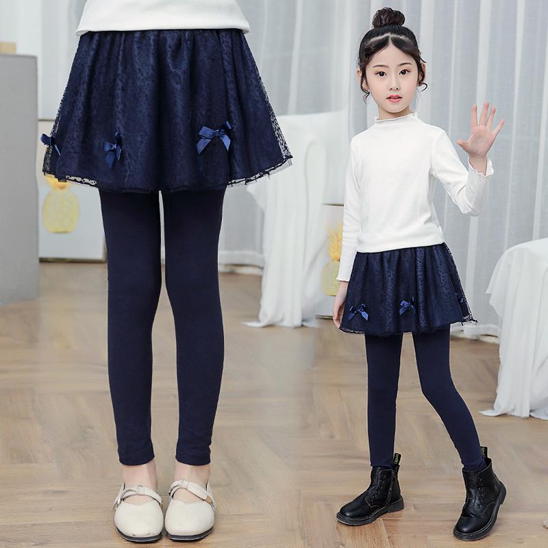 女童裙裤打底裤加绒加厚秋冬装洋气外穿一体绒假两件儿童裤裙裤子