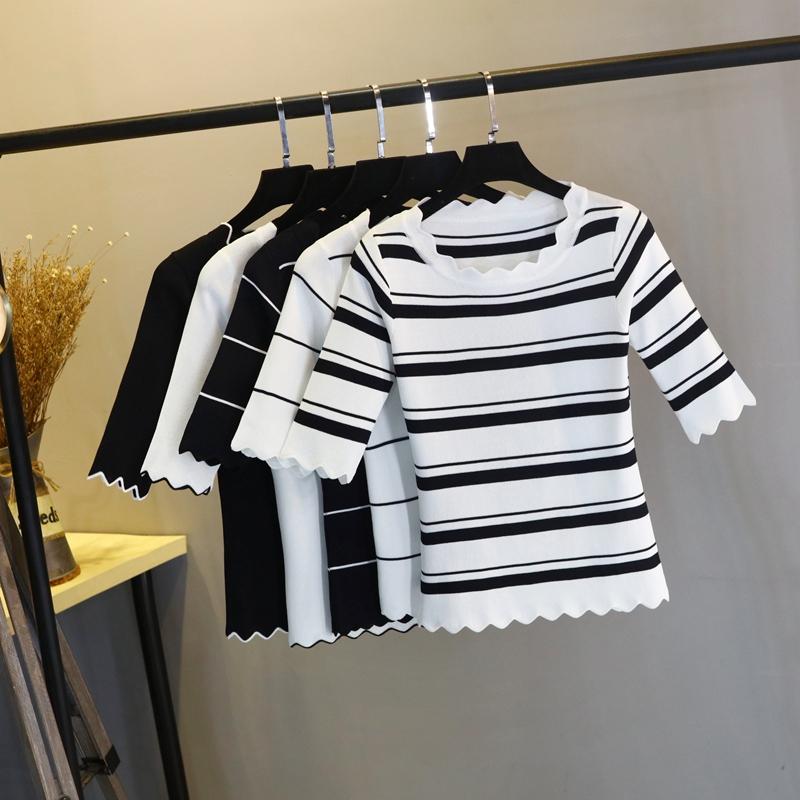 冰丝中袖T恤女春季新款花边低圆领套头条纹显瘦短款针织衫上衣女