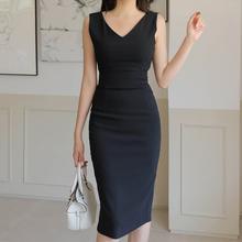黑色V领连衣裙夏女修身显瘦收dq11无袖高na裙子中长西装裙