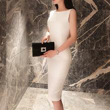 白色一字肩连衣裙女夏季无袖修身职业fr14勤包臀lp黑色裙子
