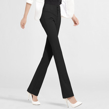 雅思诚女裤微喇直筒喇叭bd8女秋20x1高腰显瘦西裤黑色西装长裤