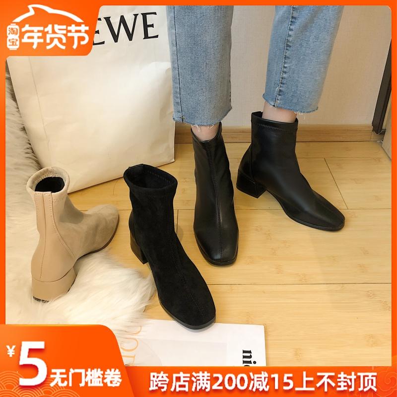 马丁靴女2019秋冬季新款英伦风懒人ins潮小短靴网红鞋子超