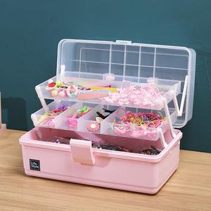 Children's hair accessories storage box cute little girl baby jewelry head rope jewelry headdress hair clip rubber band large capacity