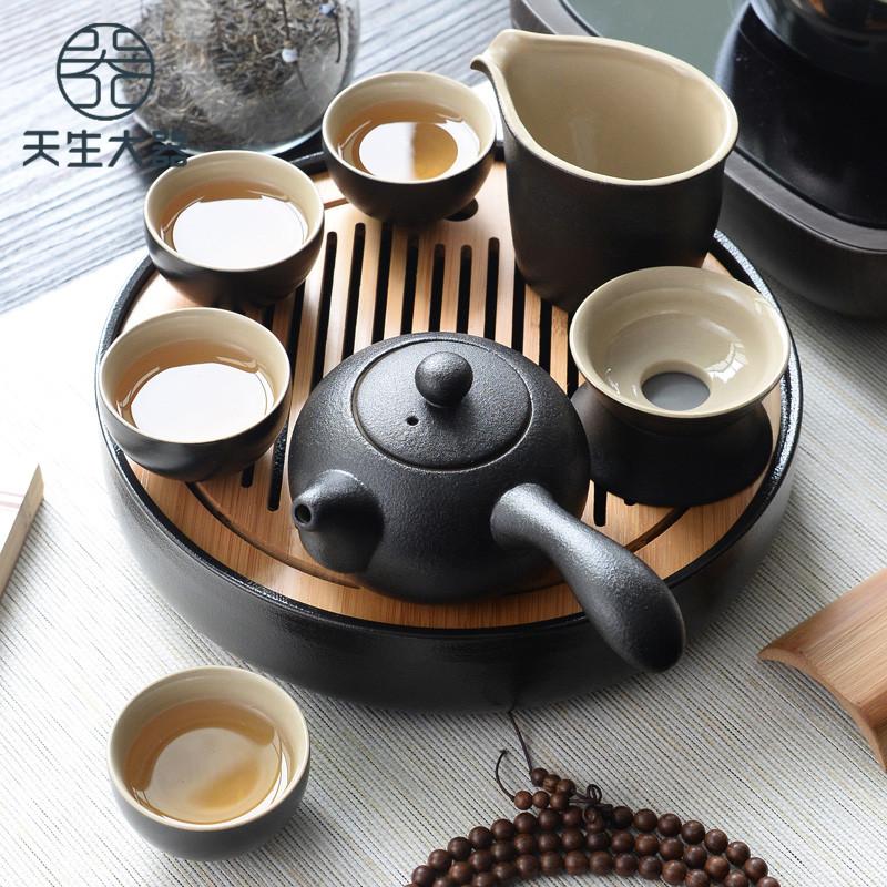 天生大器黑陶瓷功夫茶具套装家用简约干泡茶盘小日式杯壶旅行便携-天生大器-4月