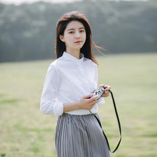 长袖白色立领衬衫女秋2018新