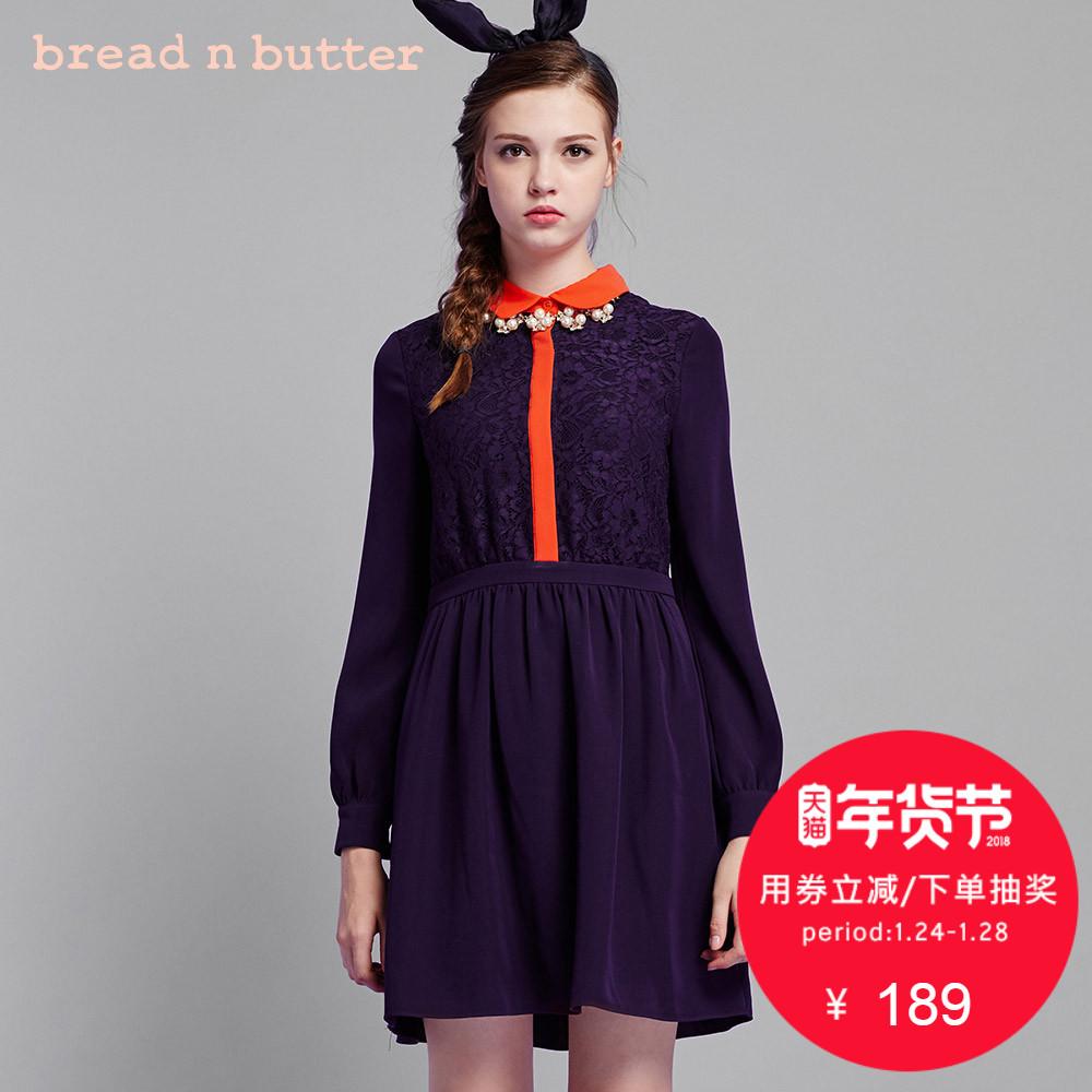【年货节】bread n butter初冬娃娃领A字裙蕾丝拼接长袖连衣裙