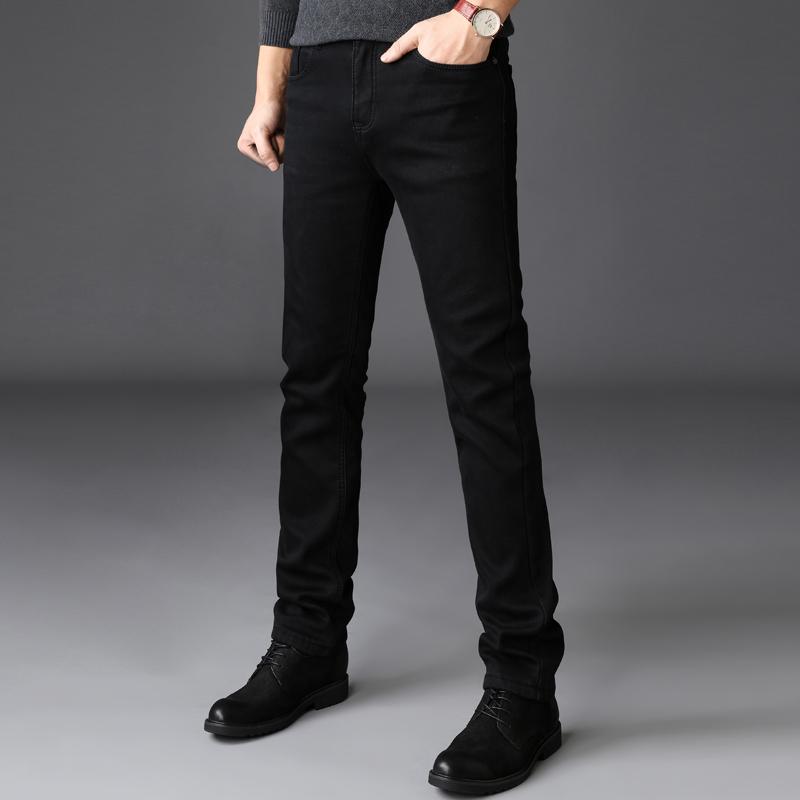秋冬款加绒商务超高弹力黑色牛仔裤男弹性修身小脚长裤子大码男装