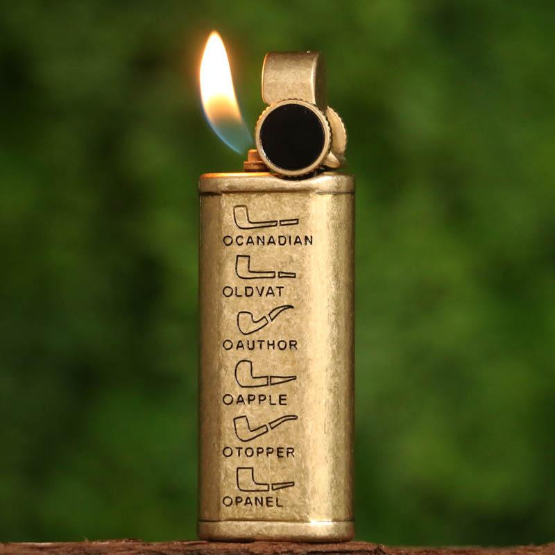点击查看商品:PROMISE 铜烟斗专用打火机充气 复古创意个性斜火砂轮铜气箱火机