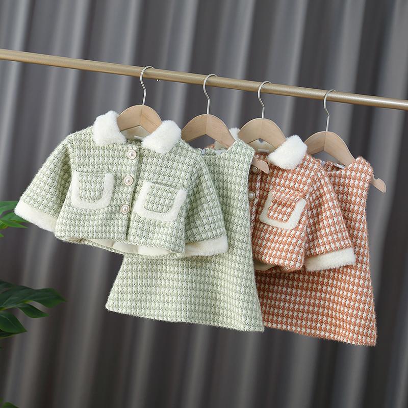小女童秋冬装加绒加厚套装2019新款女宝宝时髦洋气小香风两件套潮