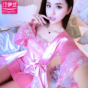 Pajamas women's autumn suspenders pajamas sex appeal long skirt long sleeve ice silk two-piece suit silk home service spring and autumn