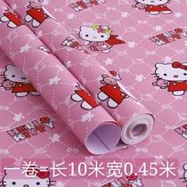 卡通pvc防水自粘宿舍墙纸寝室壁纸卧室儿童房男孩女孩kt猫机器猫