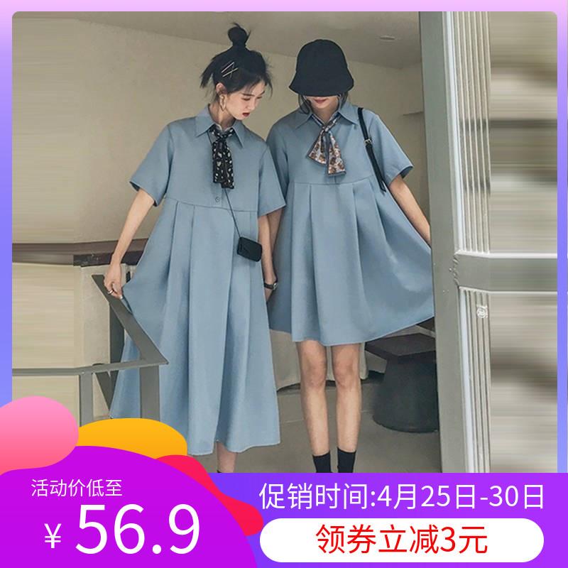 夏季法式初恋闺蜜装连衣裙高腰复古桔梗裙宽松学生姐妹装娃娃裙子