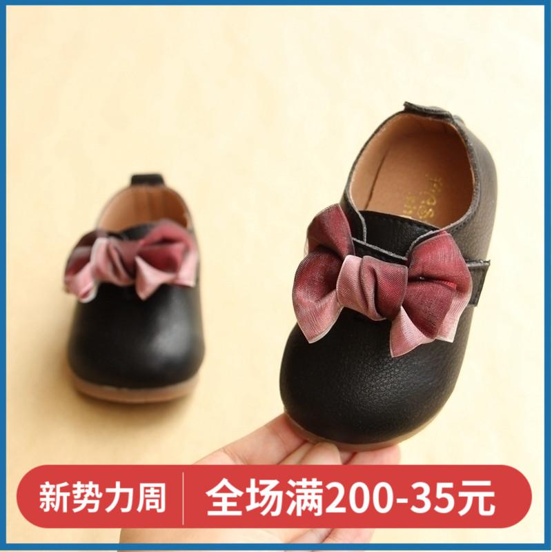 崔丫丫童鞋蝴蝶结公主宝宝单鞋1-2岁婴幼儿学步鞋软底女宝宝皮鞋