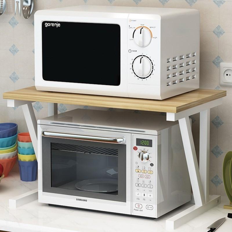 厨房置物架微波炉架2层收纳架调味料架落地台面架子双层 烤箱架
