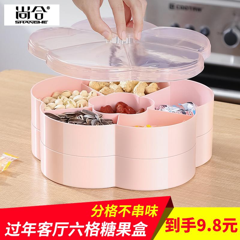 尚合家用带盖果盘零食盘 糖果盘坚果瓜子盘子客厅茶几干果收纳盒