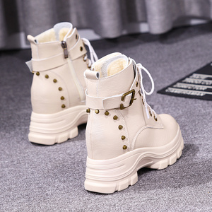 Women's shoes 2019 new inner boots with velvet autumn and winter wild British style thick bottom slope with Martin boots high heel