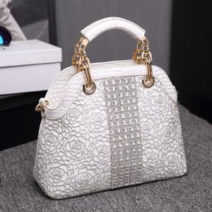 2019 new genuine leather handbags crocodile pattern lace diamond women's handbag single shoulder messenger shell bag ladies bag