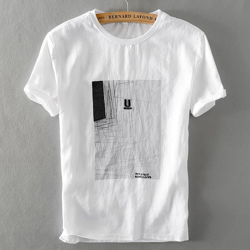 小清新简约刺绣印花短袖亚麻T恤男士白色圆领宽松拼接棉麻体恤衫