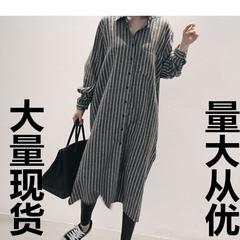 2017,女装,时尚,条纹,舒适,显瘦,超长,衬衫,图片