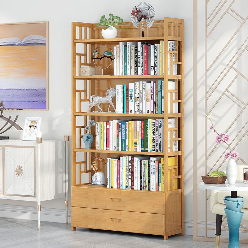 书架置物架落地简易家用学生桌上书柜现代简约落地楠竹书架省空间满79元减5元