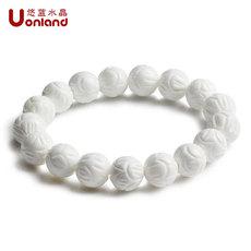 莲花白砗磲手链白色贝壳佛珠海洋宝石水晶手串机器手工雕刻包邮