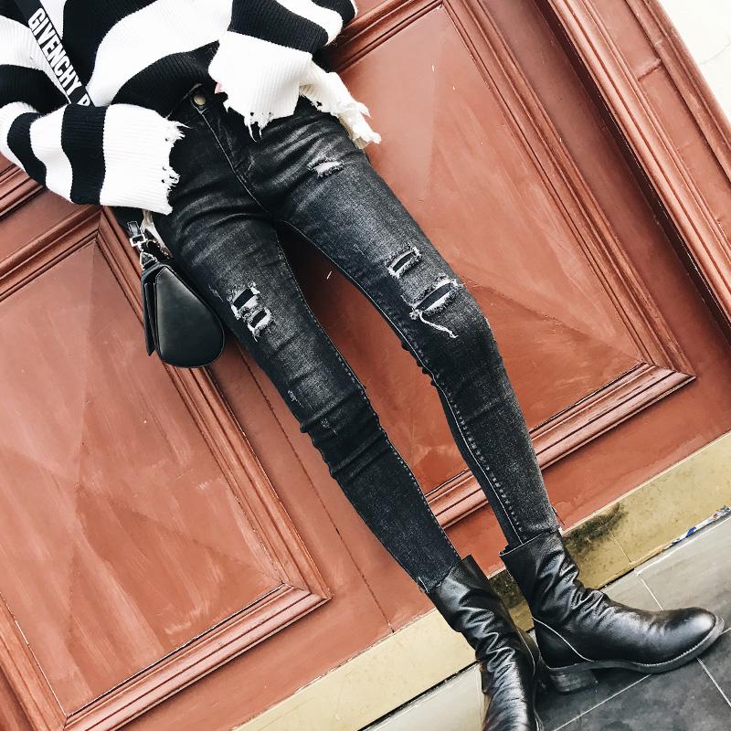 破洞牛仔裤2017新款韩版秋冬个性显瘦弹力修身不规则毛边小脚裤