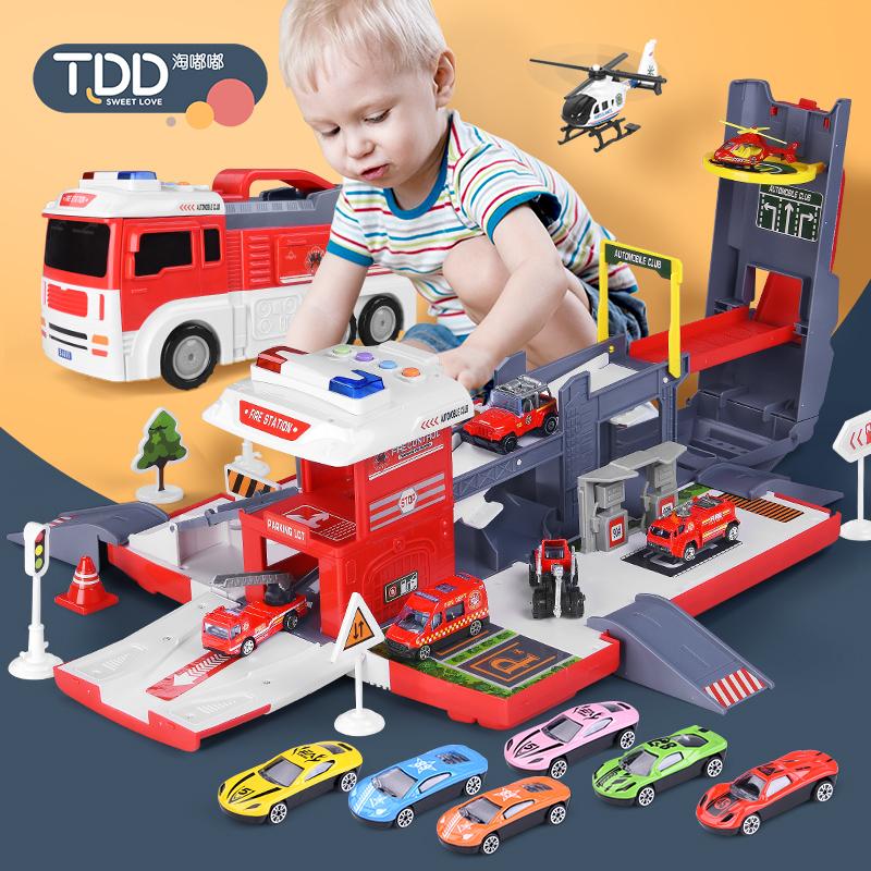 儿童玩具变形收纳停车场消防工程挖掘机轨道合金小汽车男孩搅拌车