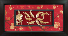 九如呈祥鲤鱼 九鱼图立体金箔画 结婚礼物中国特色乔迁礼品