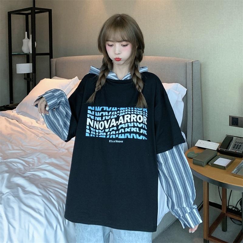 实拍~秋装韩版宽松长袖套头拼接格子薄款百搭学生中长款外套-小丸子大码女装-