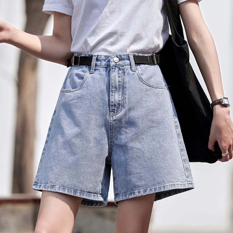 牛仔短裤女2020春夏新款高腰热裤显瘦米白色夏季薄款宽松潮ins -