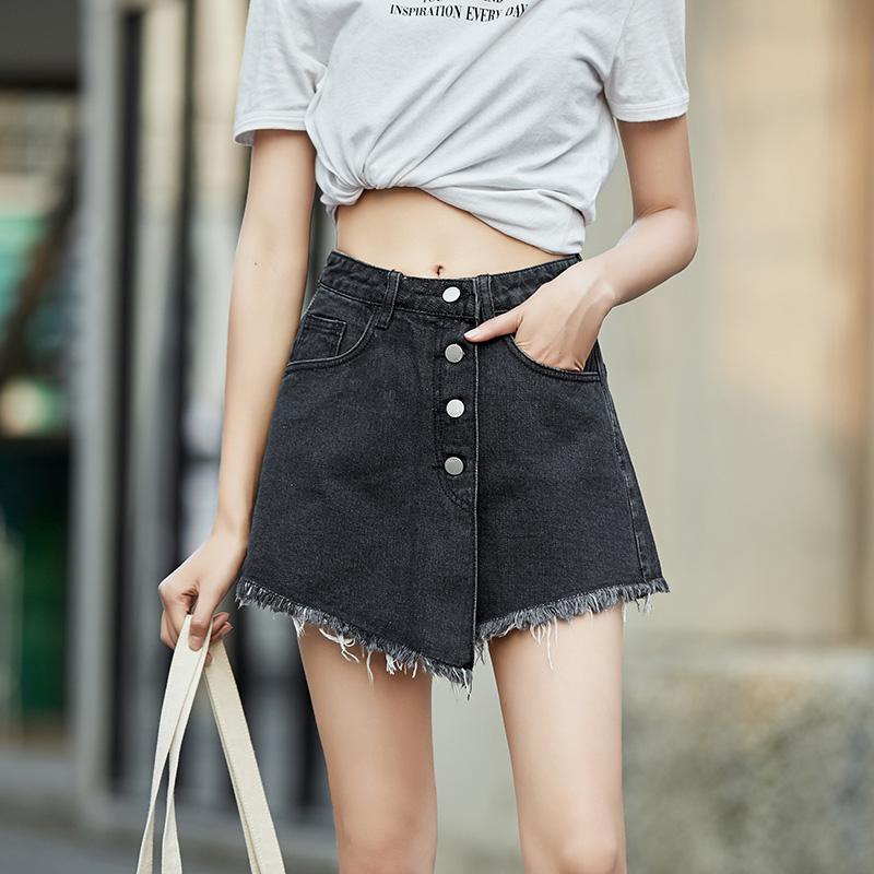 牛仔短裤裙女2020夏季新款高腰热裤网红爆款显瘦阔腿薄宽松ins -