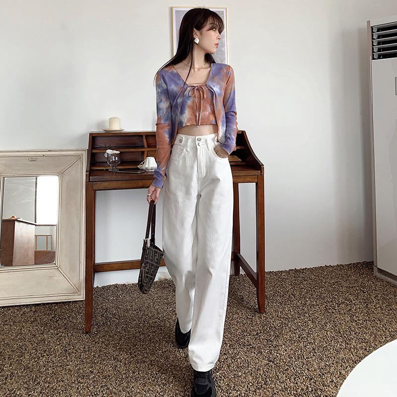 白色牛仔裤女2020新款秋季高腰显瘦直筒宽松原色拖地阔腿裤 -