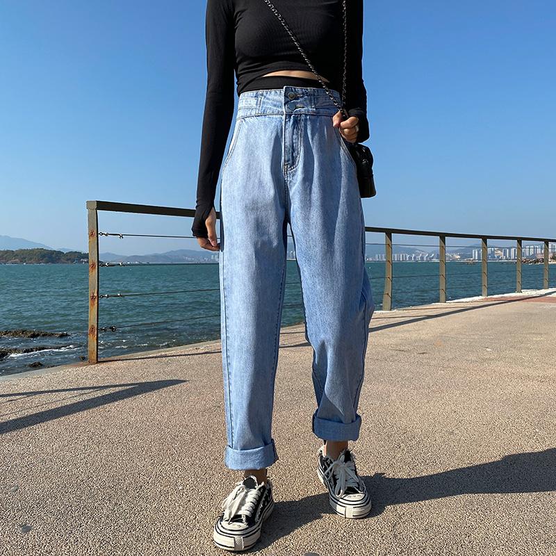牛仔裤女直筒宽松2020春装新款潮高腰显瘦百搭阔腿垂感萝卜老爹裤 -