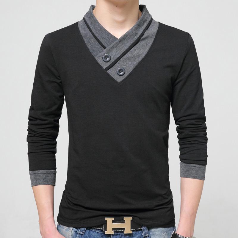2018新款纯棉男式加肥长袖男T恤 V领加大码男加绒加厚保暧打底衫