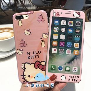 适用苹果12卡通凯蒂猫钢化膜6s/7/8plusiPhone11蓝光手机壳XS max