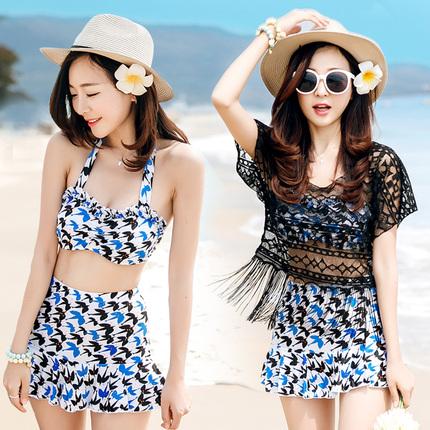 比基尼三件套学生韩国遮肚显瘦温泉罩衫平角裙性感小香泳衣女分体