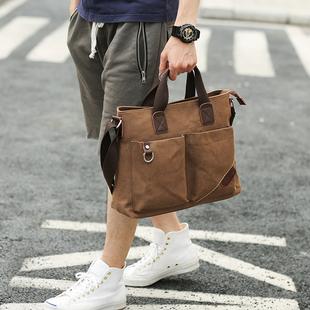 男士潮流商务出差帆布手提包休闲单肩斜挎包多功能公文包背包男包图片