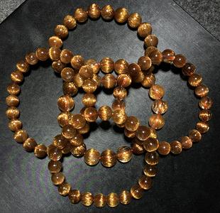 巴西天然铜发晶手链男女红铜发晶钛晶顺发猫眼石手串招财转运水晶图片